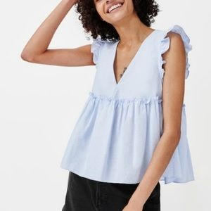 Zara Blue Sleeveless V-Neck Ruffle Top - Sz Small